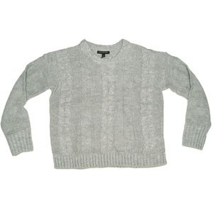 Heather Gray Cable-Knit Crew Neck Sweater